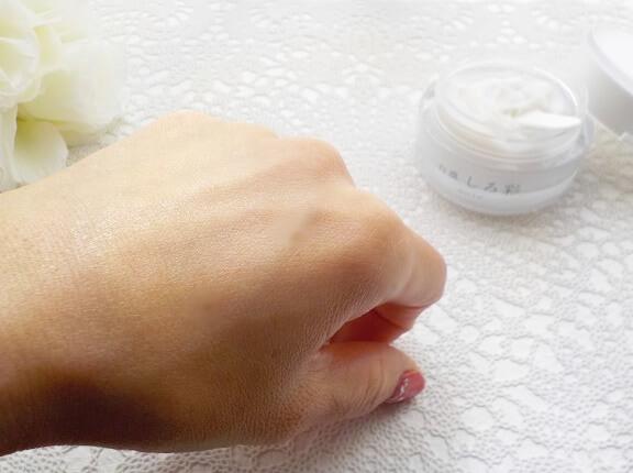 白漢しろ彩「セラミドリッチクリーム」を塗った肌